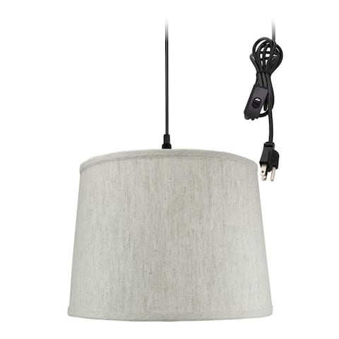 """1 Light Swag Plug-In Pendant 14""""w Textured Oatmeal Shade, 17' Black Cord"""