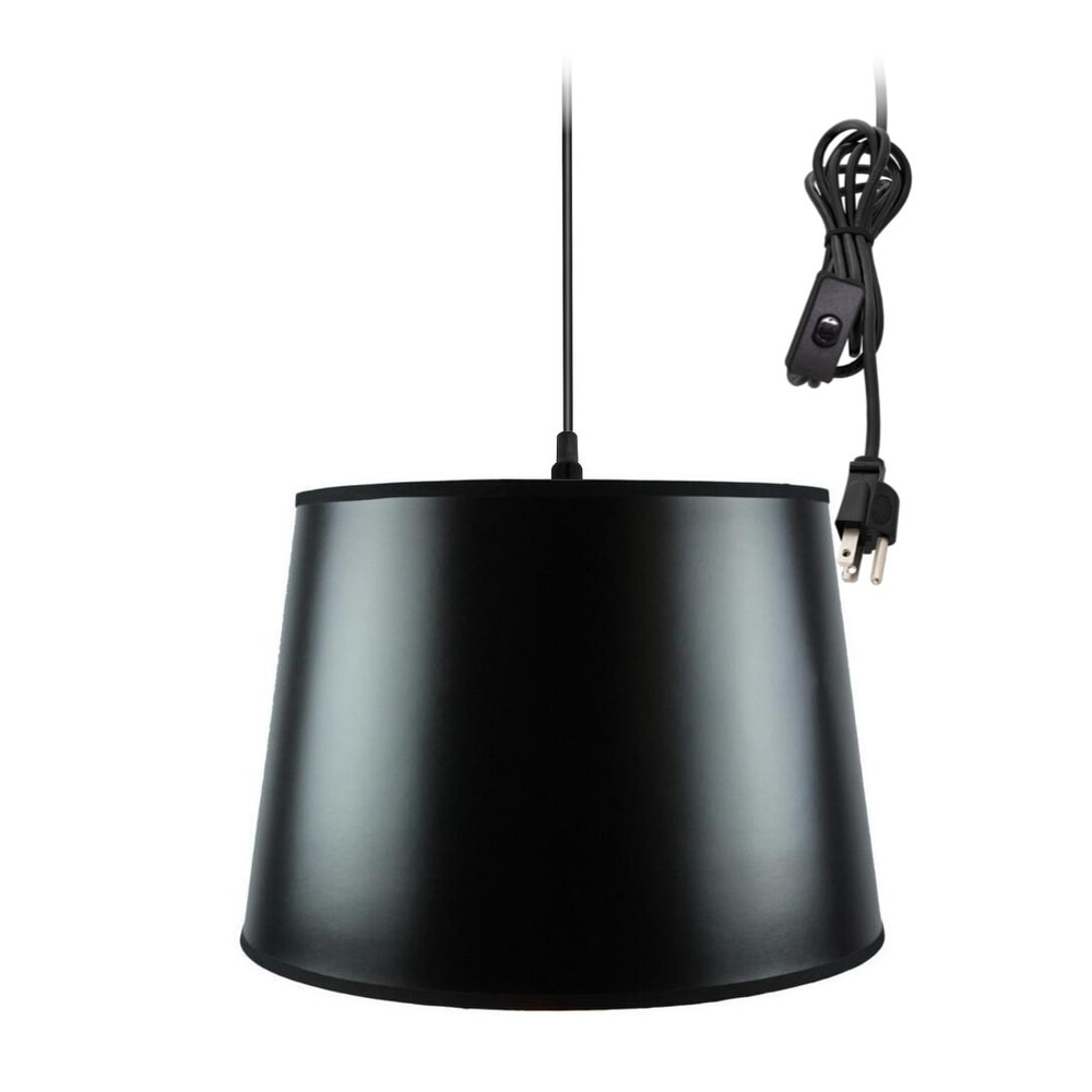 Concept 1-Light Plug In Swag Pendant Ceiling Light Black/...