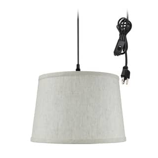 cf03ecfd18 Shallow Drum 1 Light Swag Plug-In Pendant Hanging Lamp 10x12x8 Textured