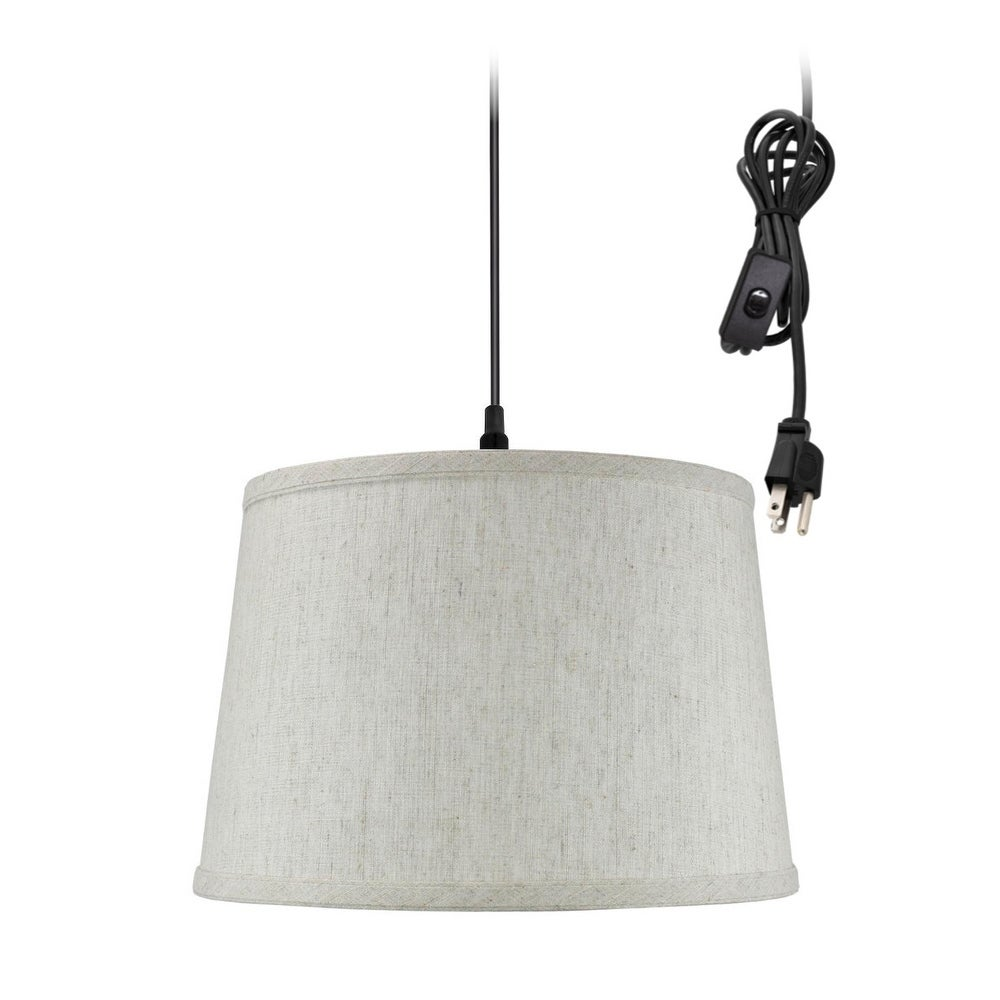 Shallow Drum 1 Light Swag Plug In Pendant Hanging Lamp Textured