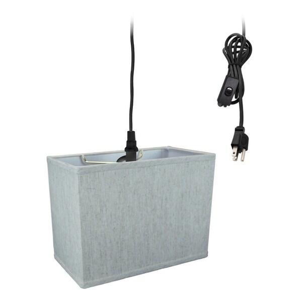 Rectangular 1 Light Swag Plug-In Pendant Hanging Lamp (10x16) (10x16) x 11 Textured Oatmeal