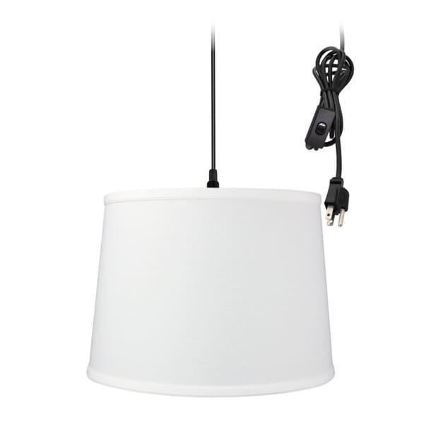 1-Light Plug In Swag Pendant Ceiling Light White Shade