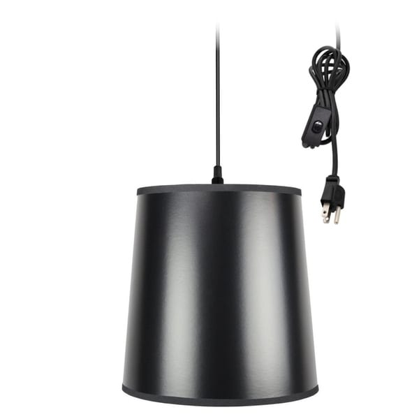 1-Light Plug In Swag Pendant Lamp Black/Gold Shade