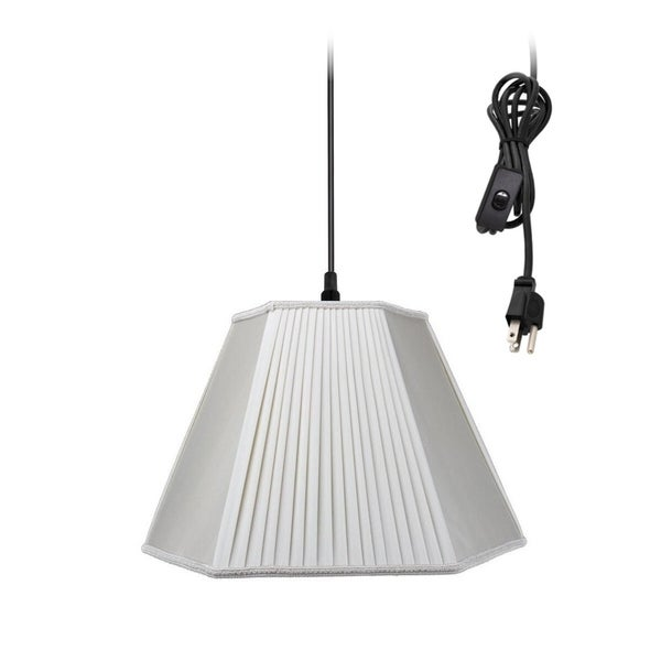 Hanging Swag Pendant Plug-In One Light Beige/Eggshell Shade
