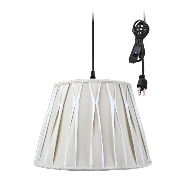 1-Light Plug In Swag Pendant Lamp Biege/Off-White Shade