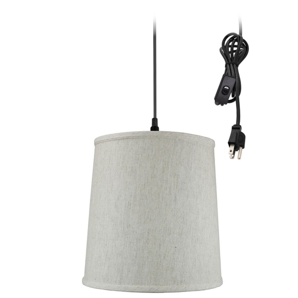 Textured Oatmeal 1 Light Swag Plug-In Pendant Hanging Lamp