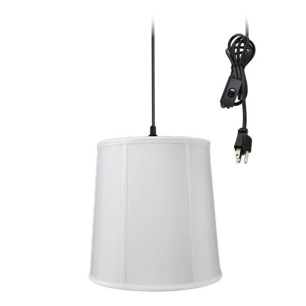 1-Light Plug In Swag Pendant Lamp White Shade