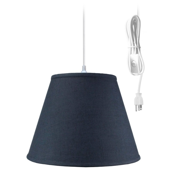 1 Light Swag Plug-In Pendant Hanging Lamp Textures Slate Blue