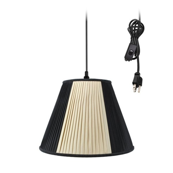 Hanging Swag Pendant Plug-In One Light Beige/Black Shade - Light Khaki