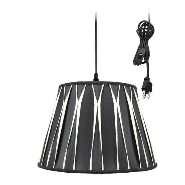 1-Light Plug In Swag Pendant Lamp Black/Beige Shade
