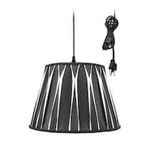 1-Light Plug In Swag Pendant Lamp Black/Beige Shade