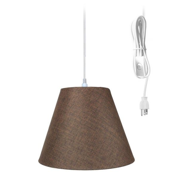 1-Light Plug In Swag Pendant Ceiling Light Chocolate Burlap Shade