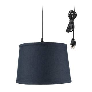 Shallow Drum 1 Light Swag Plug In Pendant Hanging Lamp 10x12x8 Textured Slate
