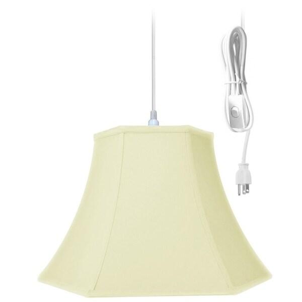 1-Light Plug In Swag Pendant Ceiling Light Hexagon Eggshell Shade