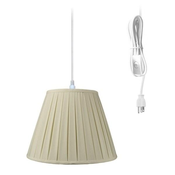 1-Light Plug In Swag Pendant Lamp Eggshell Shade