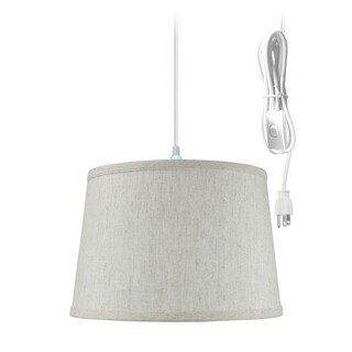 Shallow Drum 1 Light Swag Plug-In Pendant Hanging Lamp 10x12x8 Textured