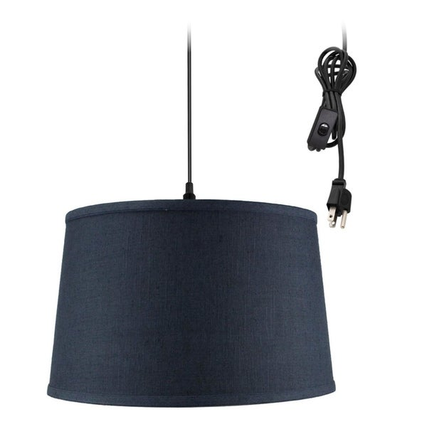 Shallow Drum 1 Light Swag Plug-In Pendant Hanging Lamp Textured Slate Blue
