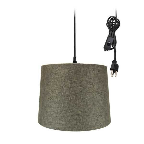 "14""w 1-Light Plug-In Swag Pendant Lamp Chocolate Burlap"