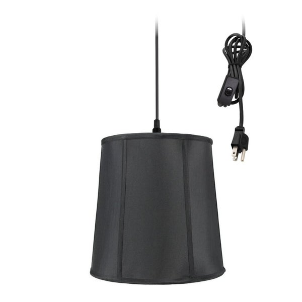 1-Light Plug In Swag Pendant Lamp Black Shade