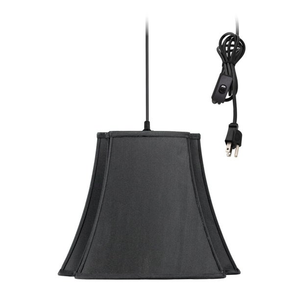 1-Light Plug In Swag Pendant Ceiling Light Black/Gold Shade
