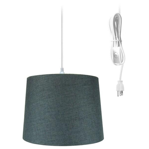 """1-Light Plug-In Swag Pendant Lamp Granite Gray 14""""w"""