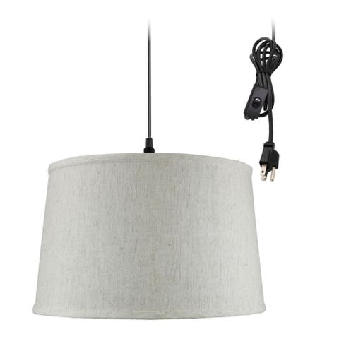 """1 Light Swag Plug-In Pendant 16""""w Shallow Drum Textured Oatmeal Shade, 17' Black Cord"""
