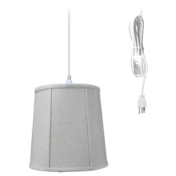 1-Light Plug In Swag Pendant Lamp Sand Linen Shade