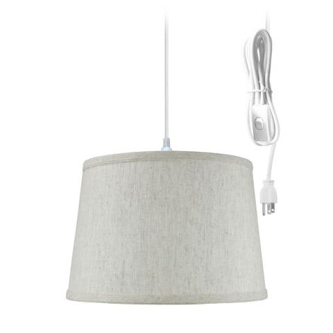 """1 Light Swag Plug-In Pendant 16""""w Shallow Drum Textured Oatmeal Shade, 17' White Cord"""