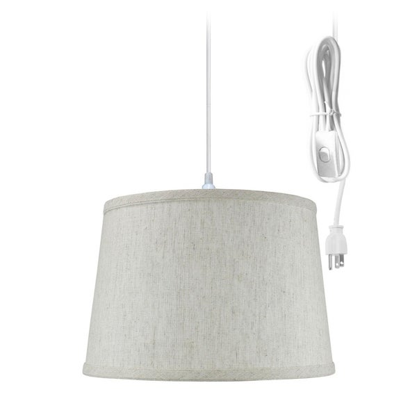 "1 Light Swag Plug-In Pendant 16""w Shallow Drum Textured Oatmeal Shade, 17' White Cord"
