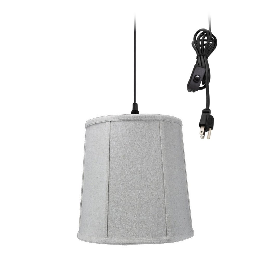 Concept 1-Light Plug In Swag Pendant Lamp Sand Linen Shad...