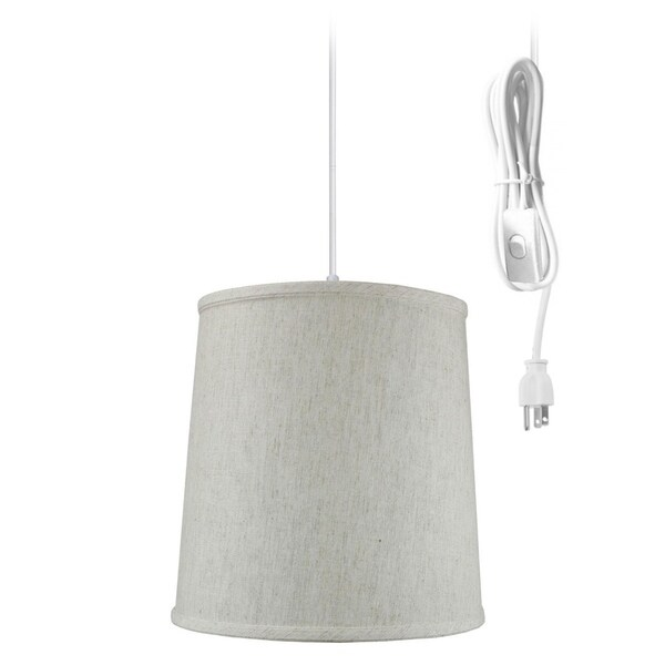 Textured Oatmeal linen 1 Light Swag Plug-In Pendant Hanging Lamp