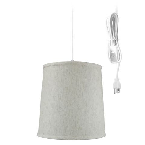 """1 Light Swag Plug-In Pendant 12""""w Textured Oatmeal Linen Shade , 17' White Cord"""