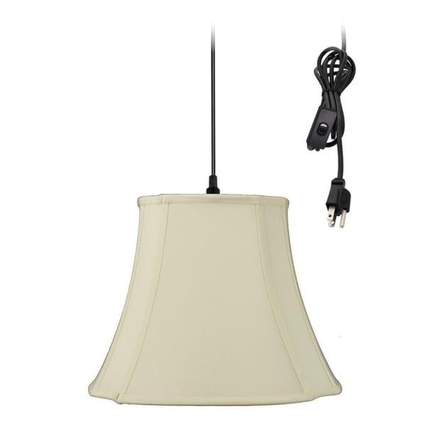 1-Light Plug In Swag Pendant Ceiling Light Eggshell Shade