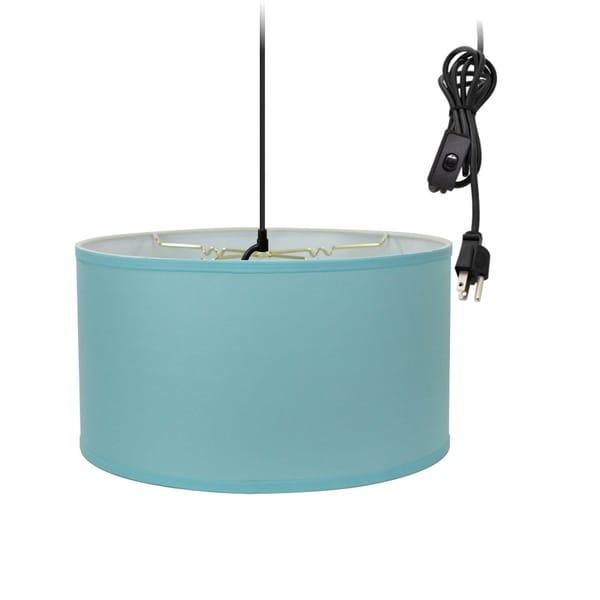 1-Light Plug In Swag Pendant Ceiling Light Island Paridise Blue Shade