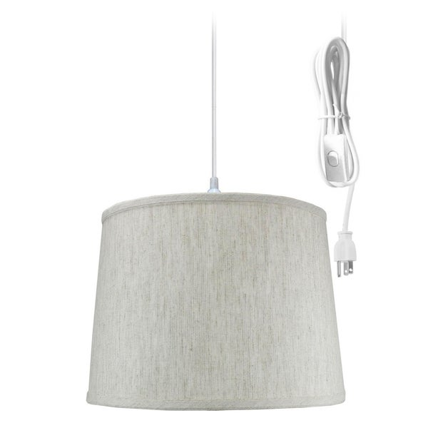 Textured Oatmeal 1 Light Swag Plug-In Pendant Hanging Lamp 12x14x10