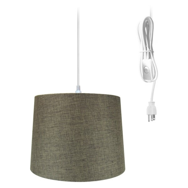 14w 1-Light Plug-In Swag Pendant Lamp Chocolate Burlap