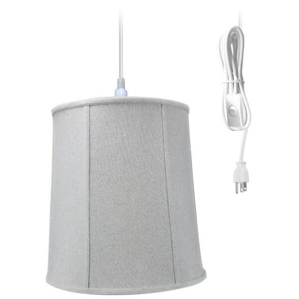 1-Light Plug In Swag Pendant Ceiling Light Sand Linen Shade