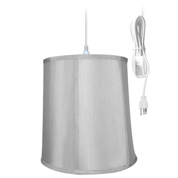 1-Light Plug In Swag Pendant Lamp Gray Shade