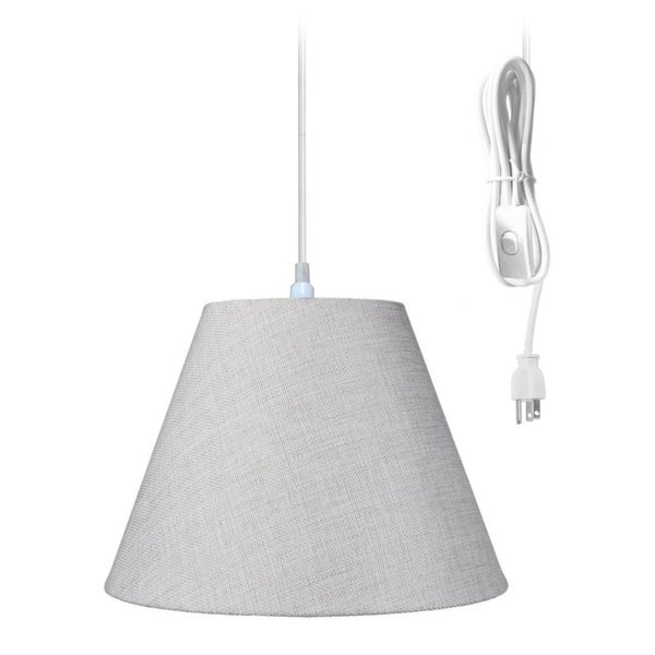 Swag Pendant Plug-In One Light Khaki Burlap Shade