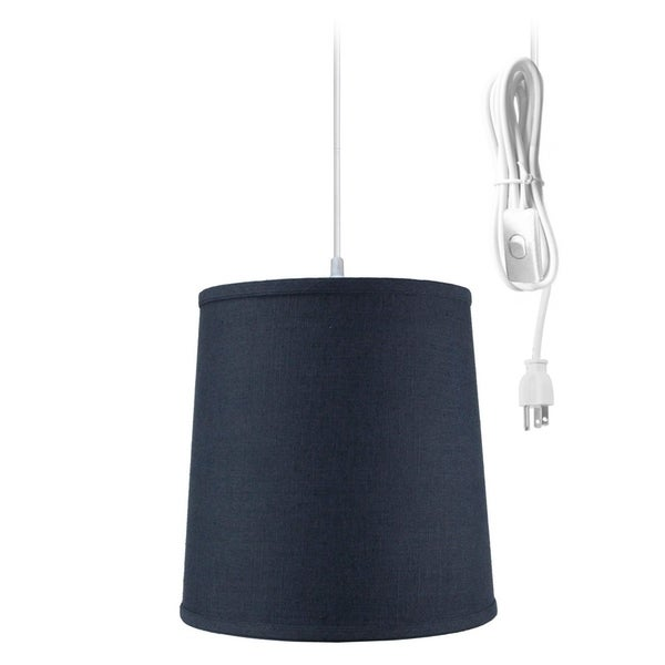 Textured Slate Blue Linen 1 Light Swag Plug-In Pendant Hanging Lamp