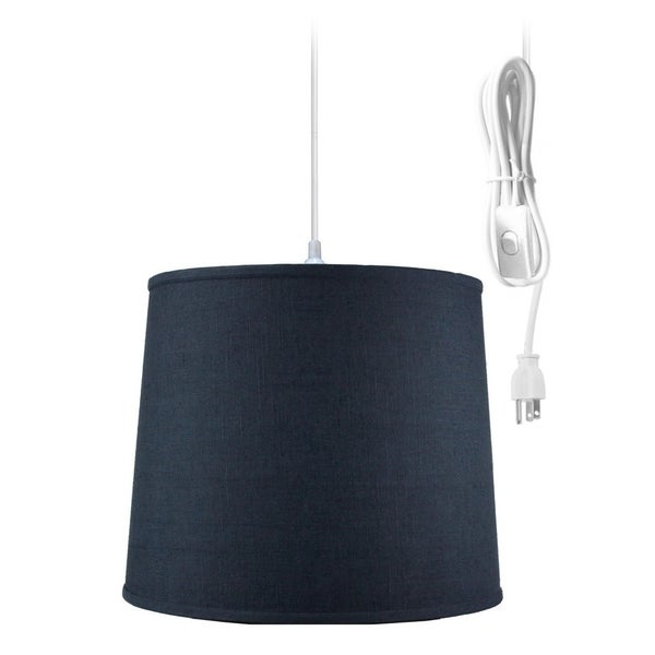 Textured Slate Blue 1 Light Swag Plug-In Pendant Hanging Lamp 12x14x10