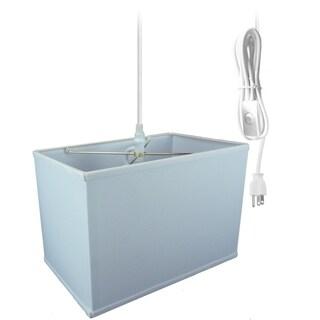 Rectangular 1 Light Swag Plug-In Pendant Hanging Lamp (6.5x12) (6.5x12) x 9 White