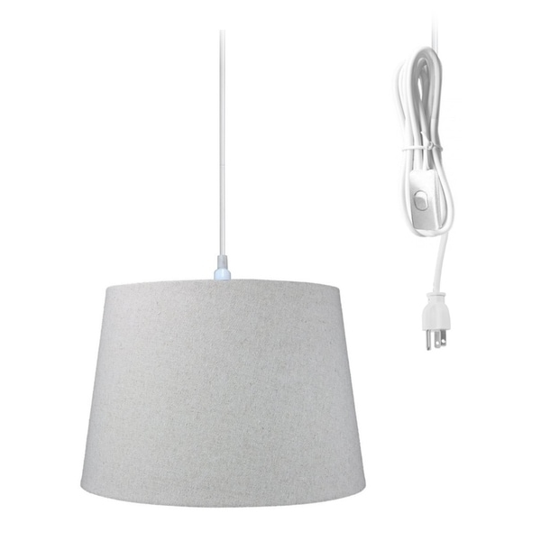 1-Light Plug In Swag Pendant Ceiling Light Sand Linen Shade