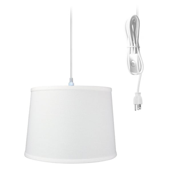 1-Light Plug In Swag Pendant Ceiling Light White Shade