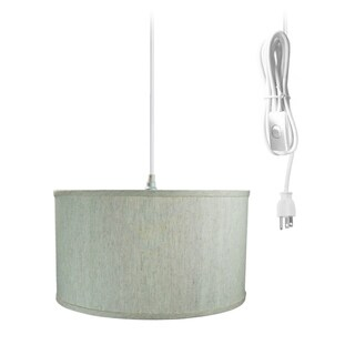 1-Light Plug In Swag Pendant Ceiling Light Textured Oatmeal Shade