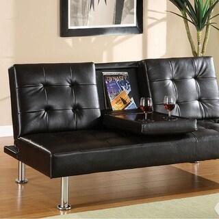 Orinda Contemporary Leatherette Futon Sofa