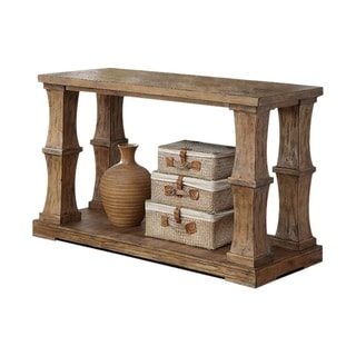 Benzara Granard Natural Tone Finish Wood Transitional Sofa Table