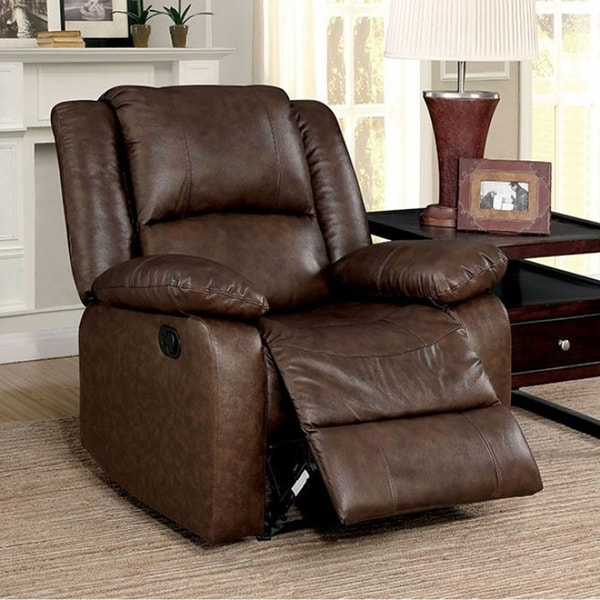 Kris Transitional Style Brown Recliner