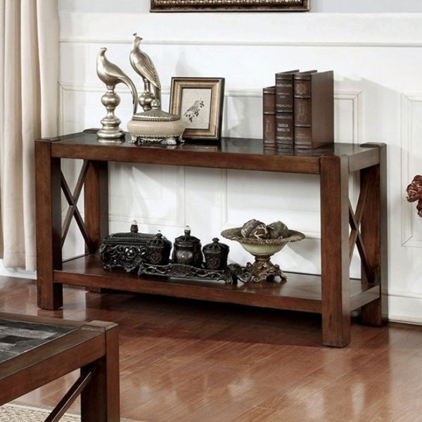 Benzara Rani Cayman Brown Cherry Wood Sofa Table