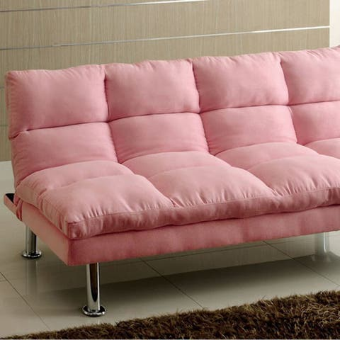 Tufted Fabric Upholstered Convertible Futon with Metal Legs, Pink